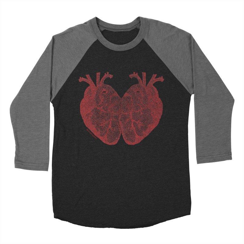 Heart to Heart - One Continuous Line Women's Baseball Triblend Longsleeve T-Shirt by Daniel Dugan's Artist Shop