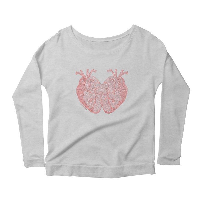 Heart to Heart - One Continuous Line Women's Scoop Neck Longsleeve T-Shirt by Daniel Dugan's Artist Shop