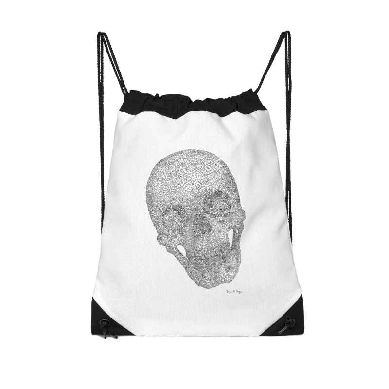 Skull Cocked Accessories Drawstring Bag Bag by Daniel Dugan's Artist Shop