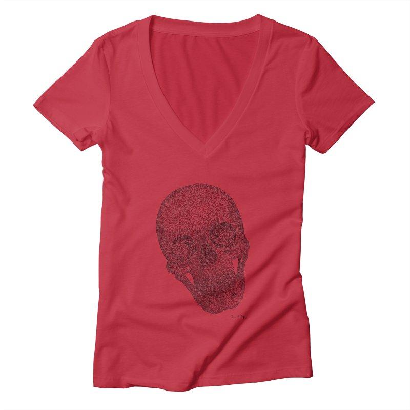 Skull Cocked Women's Deep V-Neck V-Neck by Daniel Dugan's Artist Shop