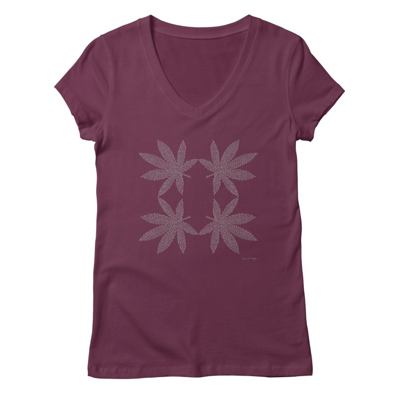 Flower Power (For Dark Background) Women's Regular V-Neck by Daniel Dugan's Artist Shop