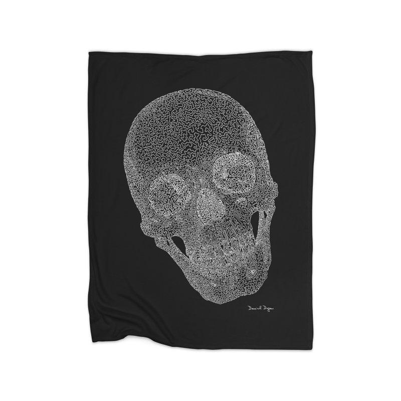 Skull Cocked (For Dark Background) Home Fleece Blanket Blanket by Daniel Dugan's Artist Shop