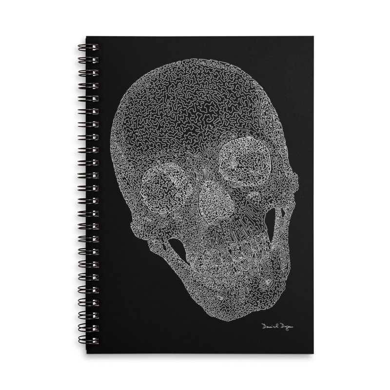Skull Cocked (For Dark Background) Accessories Lined Spiral Notebook by Daniel Dugan's Artist Shop