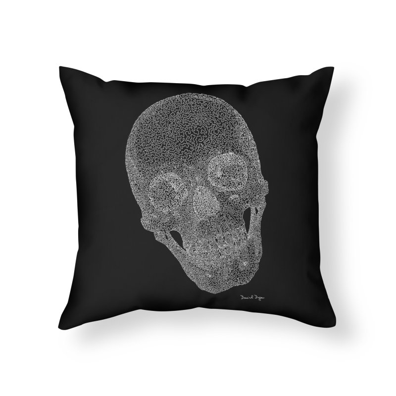 Skull Cocked (For Dark Background) Home Throw Pillow by Daniel Dugan's Artist Shop