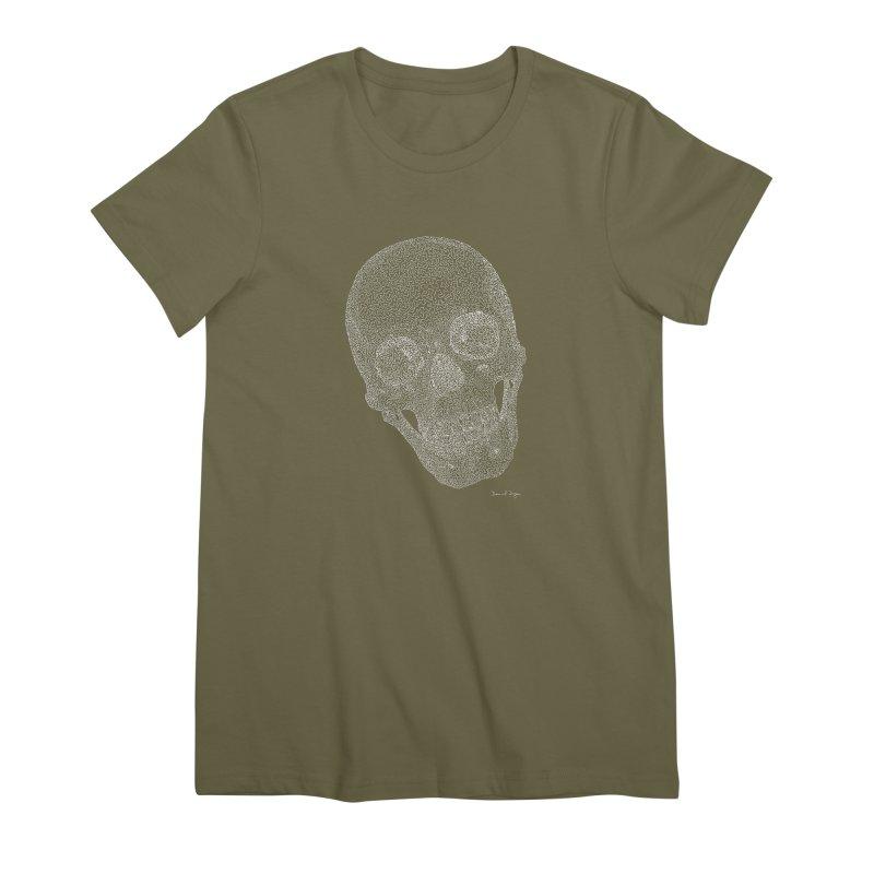 Skull Cocked (For Dark Background) Women's Premium T-Shirt by Daniel Dugan's Artist Shop