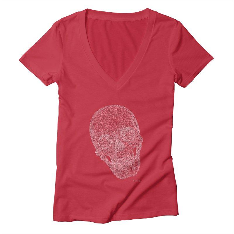 Skull Cocked (For Dark Background) Women's Deep V-Neck V-Neck by Daniel Dugan's Artist Shop