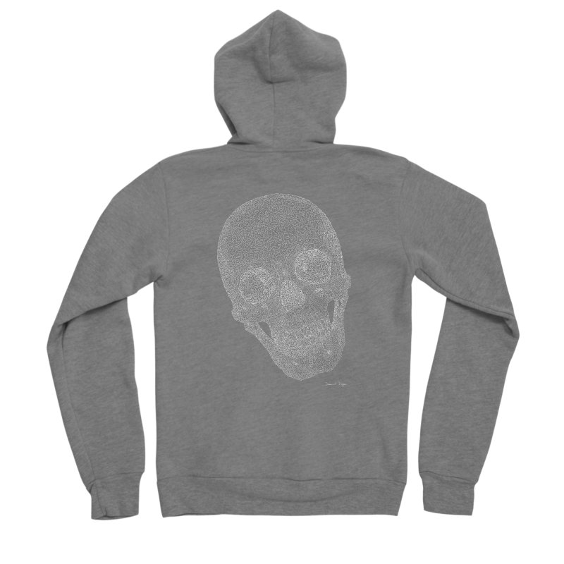 Skull Cocked (For Dark Background) Men's Sponge Fleece Zip-Up Hoody by Daniel Dugan's Artist Shop
