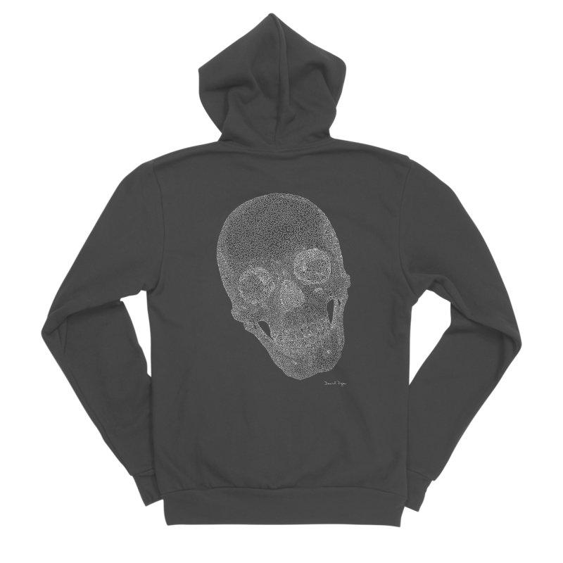 Skull Cocked (For Dark Background) Men's Sponge Fleece Zip-Up Hoody by Daniel Dugan's Artist Shop