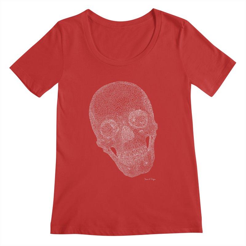 Skull Cocked (For Dark Background) Women's Regular Scoop Neck by Daniel Dugan's Artist Shop