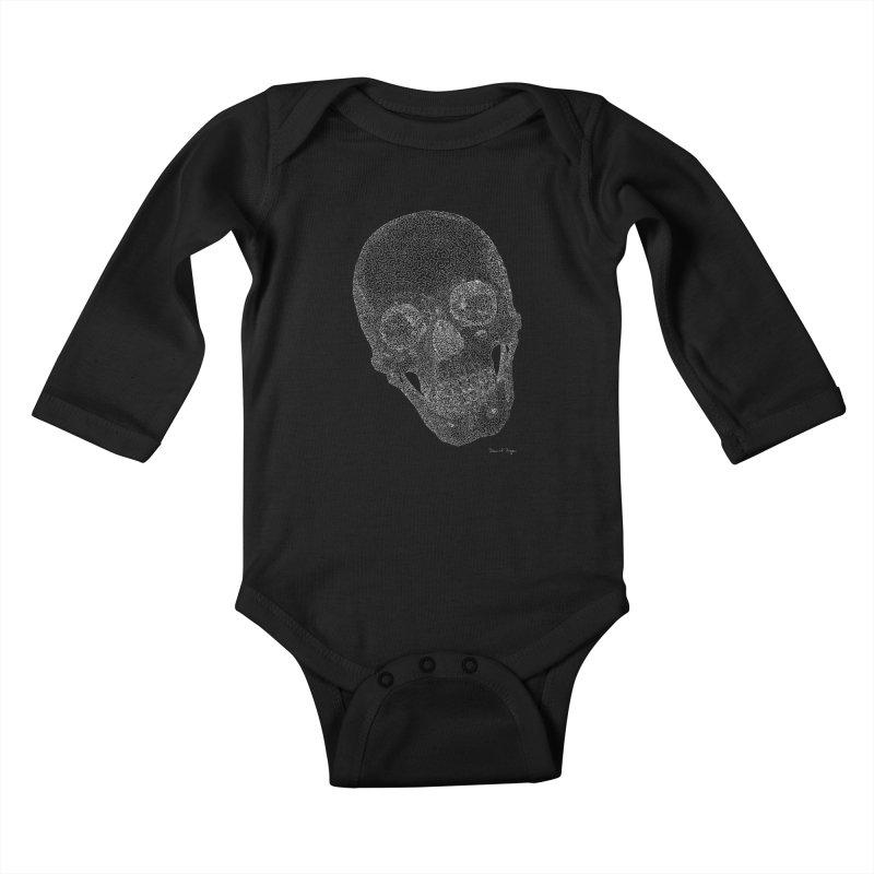 Skull Cocked (For Dark Background) Kids Baby Longsleeve Bodysuit by Daniel Dugan's Artist Shop