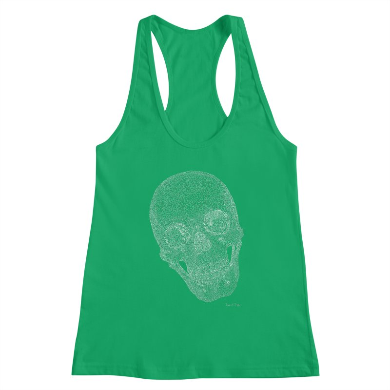 Skull Cocked (For Dark Background) Women's Racerback Tank by Daniel Dugan's Artist Shop