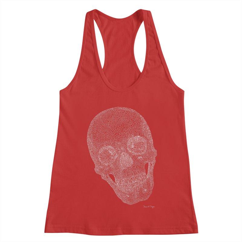 Skull Cocked (For Dark Background) Women's Racerback Tank by Daniel Dugan's Artist Shop