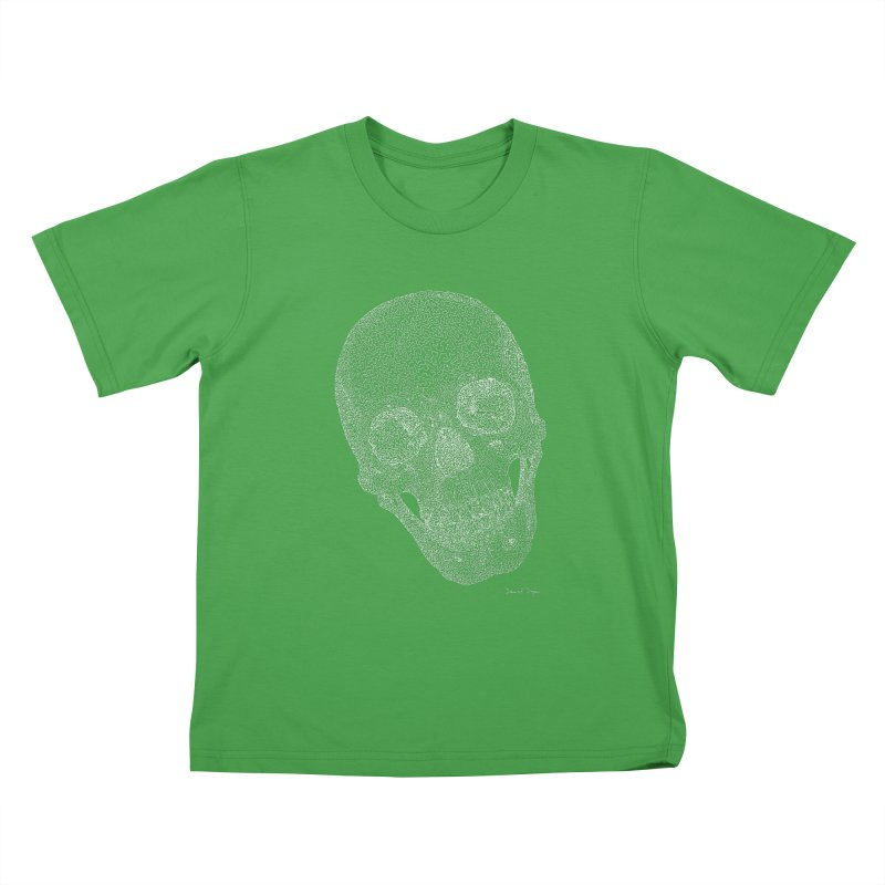 Skull Cocked (For Dark Background) Kids T-Shirt by Daniel Dugan's Artist Shop