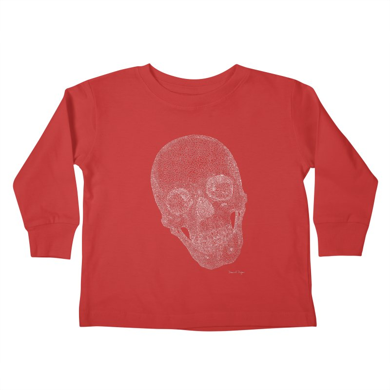 Skull Cocked (For Dark Background) Kids Toddler Longsleeve T-Shirt by Daniel Dugan's Artist Shop