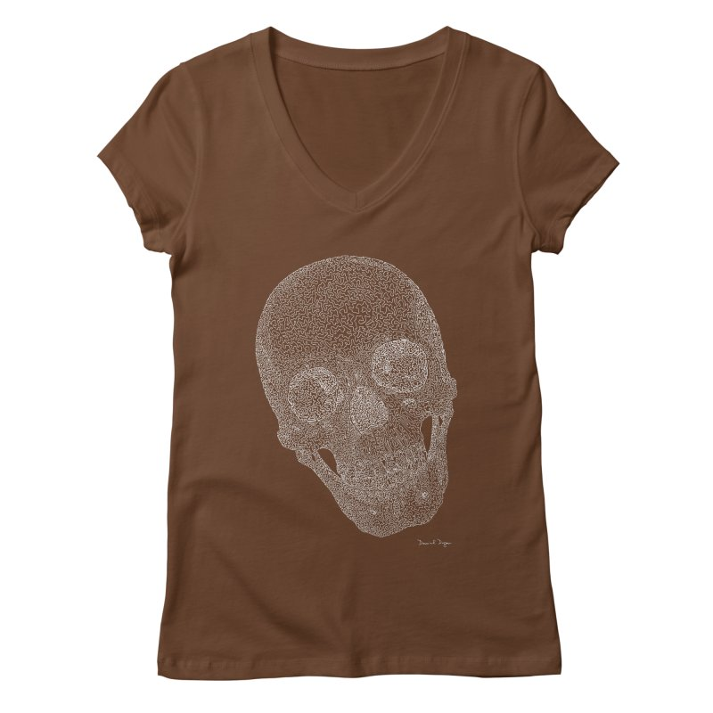 Skull Cocked (For Dark Background) Women's Regular V-Neck by Daniel Dugan's Artist Shop