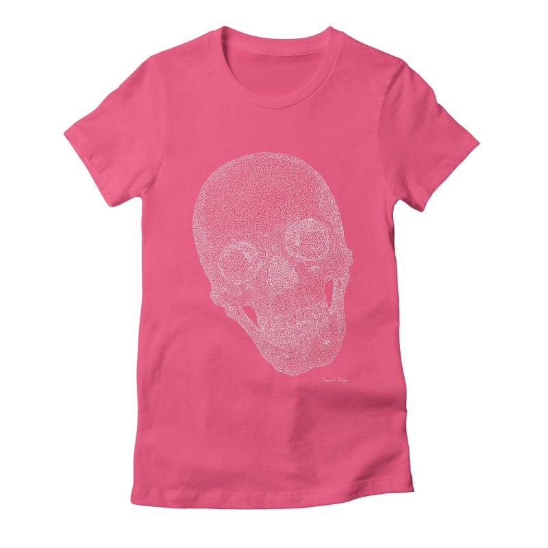 Skull Cocked (For Dark Background) Women's Fitted T-Shirt by Daniel Dugan's Artist Shop