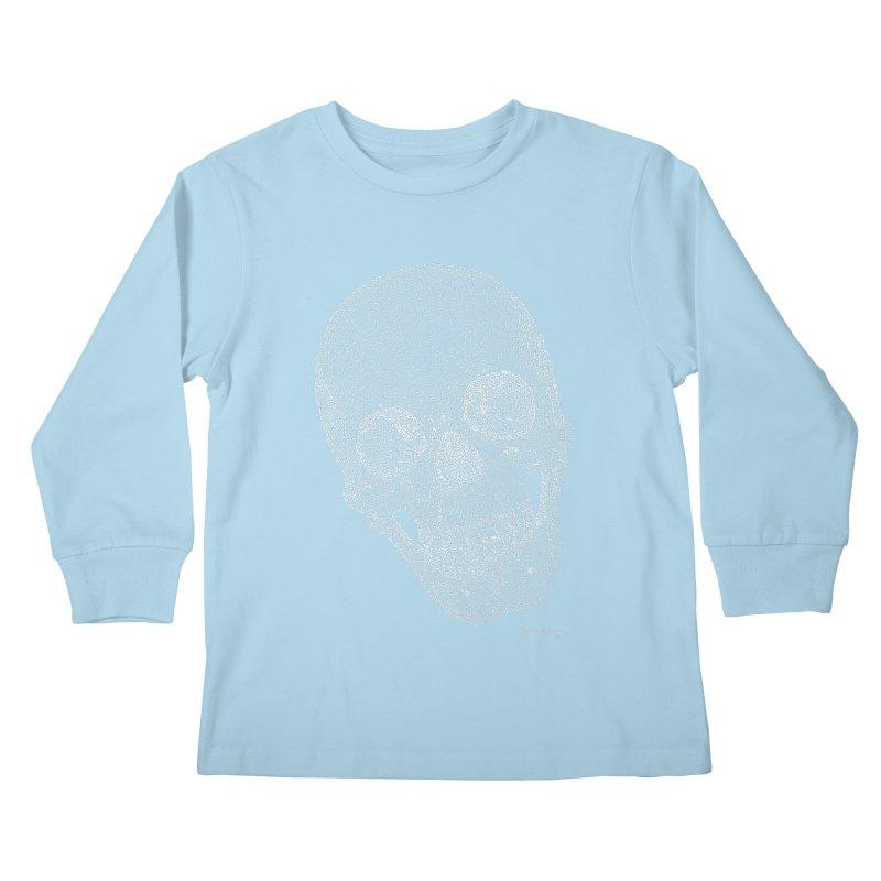 Skull Cocked (For Dark Background) Kids Longsleeve T-Shirt by Daniel Dugan's Artist Shop