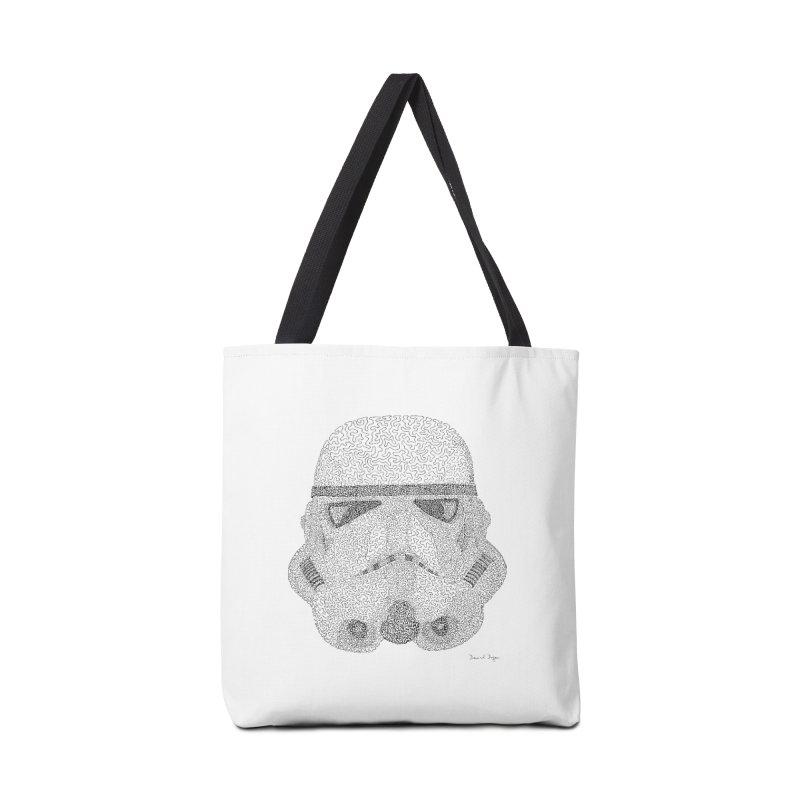 Trooper BLACK - One Continuous Line Accessories Tote Bag Bag by Daniel Dugan's Artist Shop