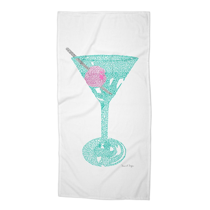 Martini Accessories Beach Towel by Daniel Dugan's Artist Shop