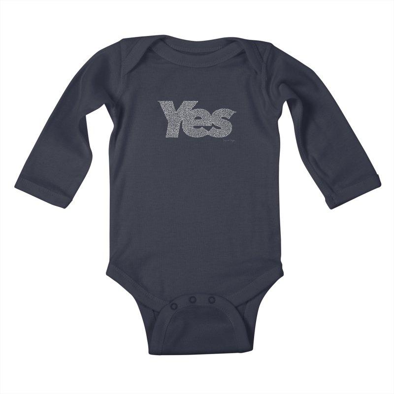 Yes (For Dark Background) Kids Baby Longsleeve Bodysuit by Daniel Dugan's Artist Shop