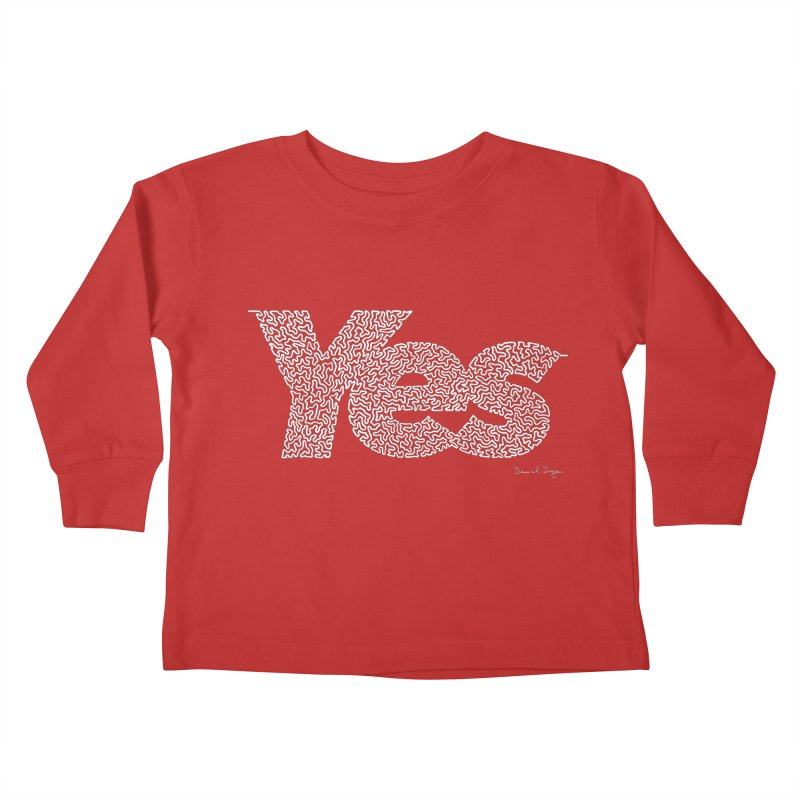 Yes (For Dark Background) Kids Toddler Longsleeve T-Shirt by Daniel Dugan's Artist Shop
