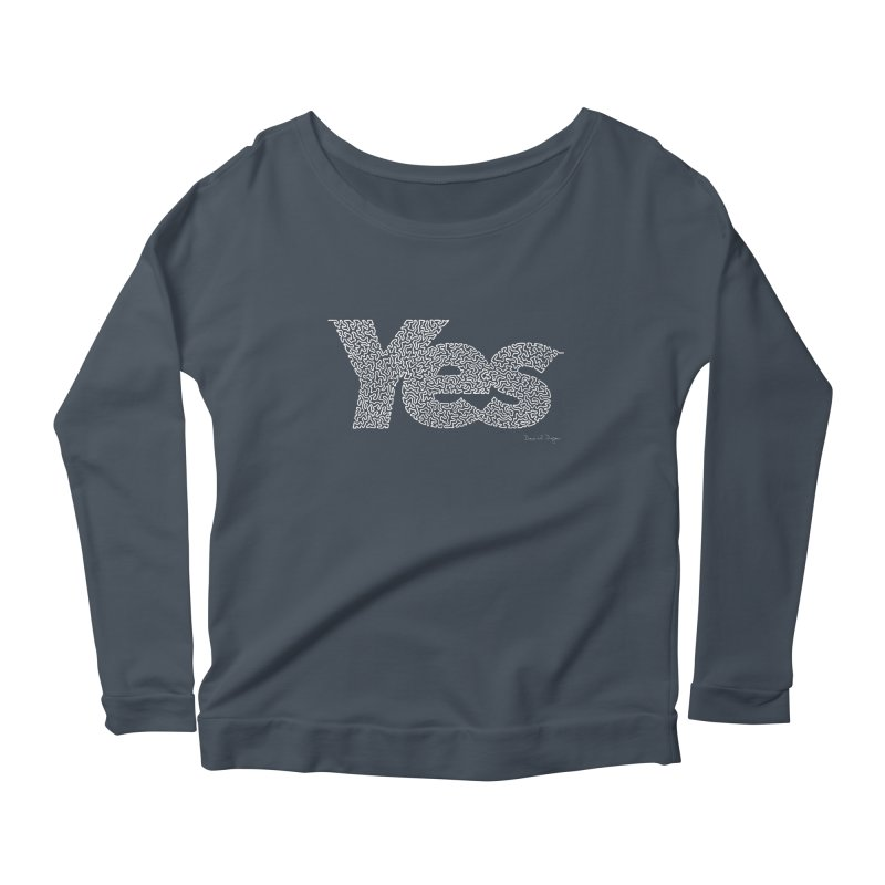 Yes (For Dark Background) Women's Scoop Neck Longsleeve T-Shirt by Daniel Dugan's Artist Shop