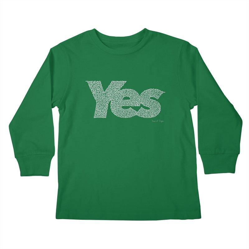 Yes (For Dark Background) Kids Longsleeve T-Shirt by Daniel Dugan's Artist Shop