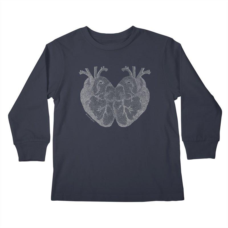 Heart to Heart (For Dark Background) Kids Longsleeve T-Shirt by Daniel Dugan's Artist Shop