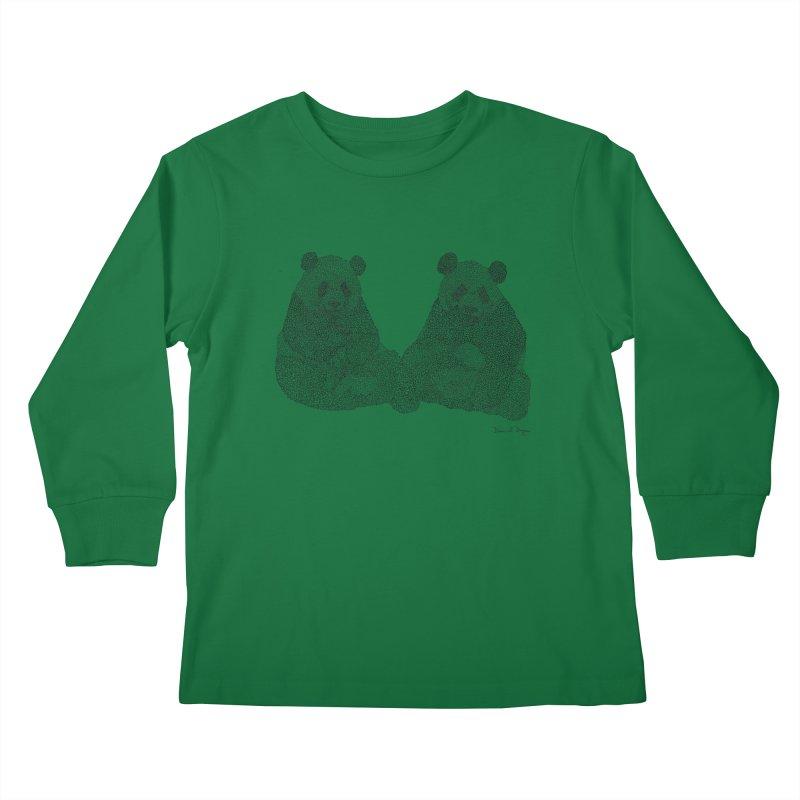 Pandas Kids Longsleeve T-Shirt by Daniel Dugan's Artist Shop