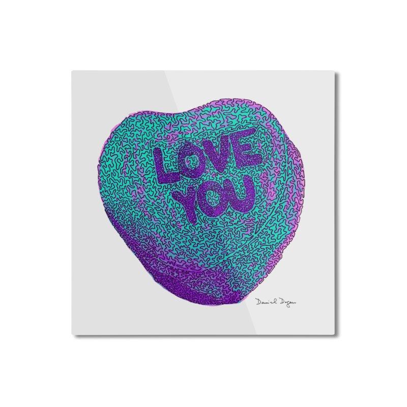 LOVE YOU Electric Mint Home Mounted Aluminum Print by Daniel Dugan's Artist Shop