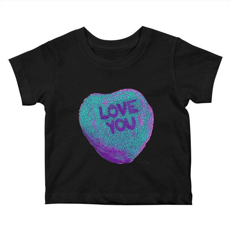 LOVE YOU Electric Mint Kids Baby T-Shirt by Daniel Dugan's Artist Shop