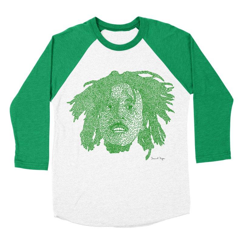 Bob Marley Green Men's Baseball Triblend T-Shirt by Daniel Dugan's Artist Shop