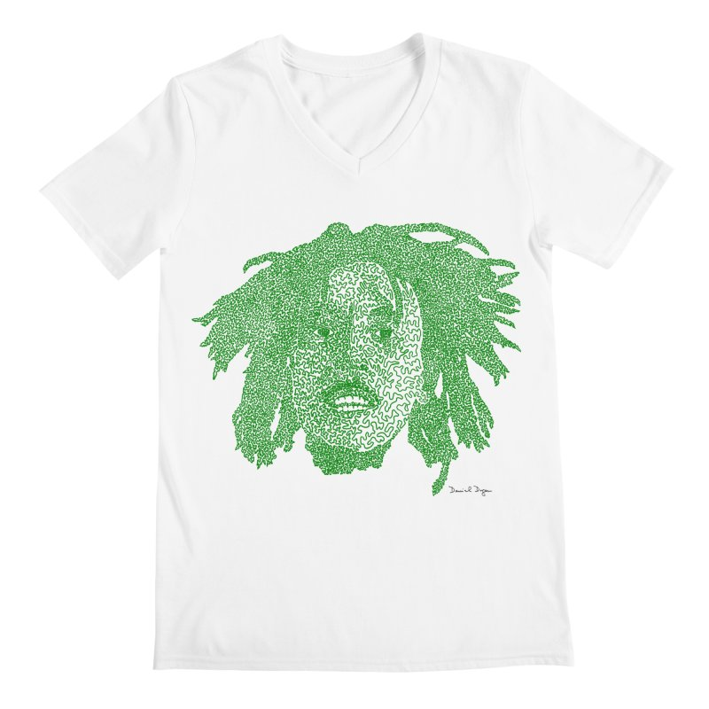 Bob Marley Green Men's V-Neck by Daniel Dugan's Artist Shop