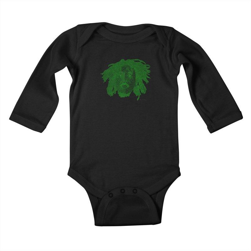 Bob Marley Green Kids Baby Longsleeve Bodysuit by Daniel Dugan's Artist Shop