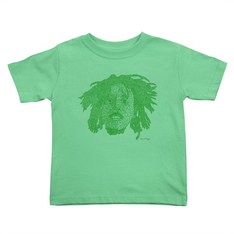 Bob Marley Green Kids Toddler T-Shirt by Daniel Dugan's Artist Shop