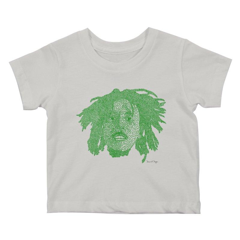 Bob Marley Green Kids Baby T-Shirt by Daniel Dugan's Artist Shop