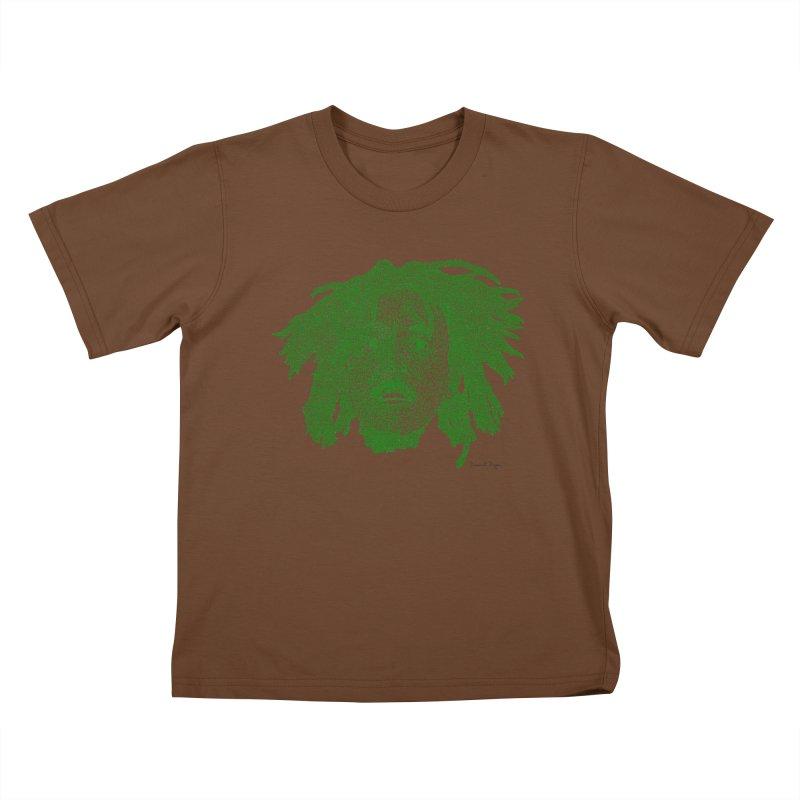 Bob Marley Green Kids T-shirt by Daniel Dugan's Artist Shop