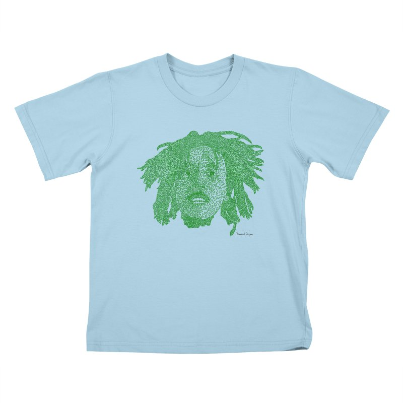 Bob Marley Green Kids T-shirt by Daniel Dugan's Artist Shop