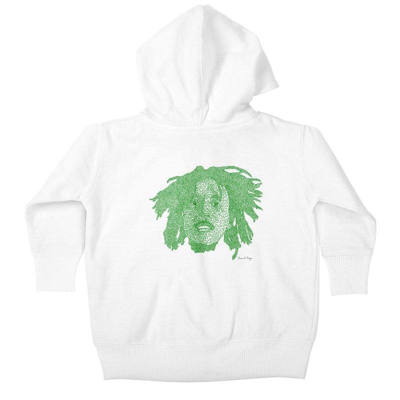 Bob Marley Green Kids Baby Zip-Up Hoody by Daniel Dugan's Artist Shop