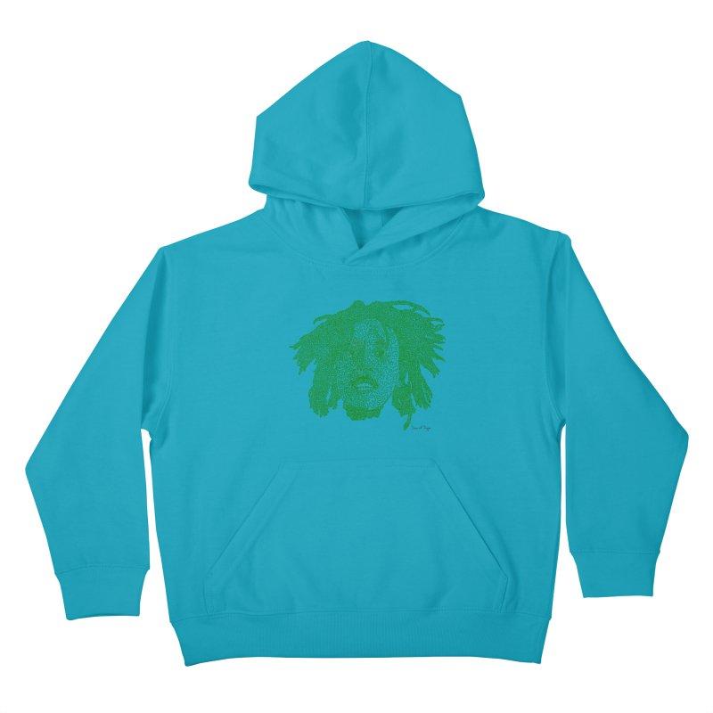 Bob Marley Green Kids Pullover Hoody by Daniel Dugan's Artist Shop