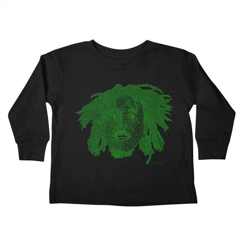 Bob Marley Green Kids Toddler Longsleeve T-Shirt by Daniel Dugan's Artist Shop