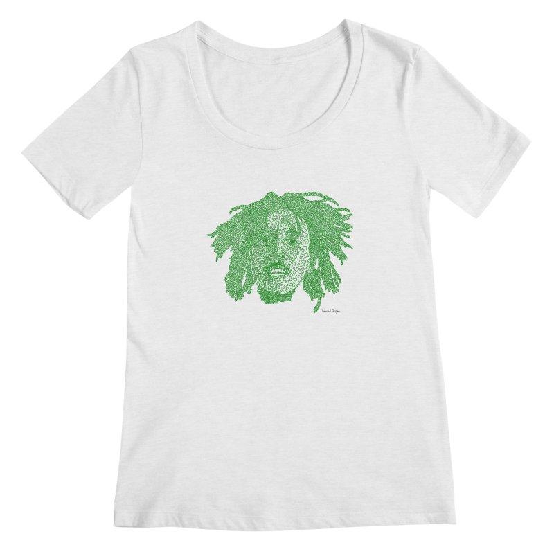 Bob Marley Green Women's Scoopneck by Daniel Dugan's Artist Shop