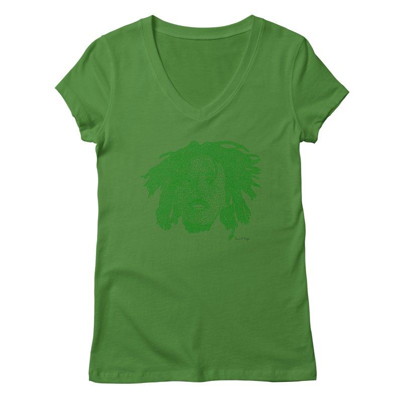 Bob Marley Green Women's V-Neck by Daniel Dugan's Artist Shop