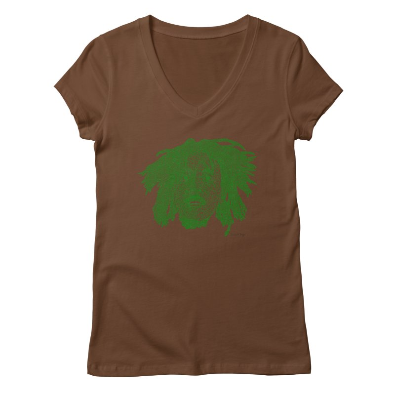 Bob Marley Green Women's V-Neck by Daniel Dugan's Artist Shop