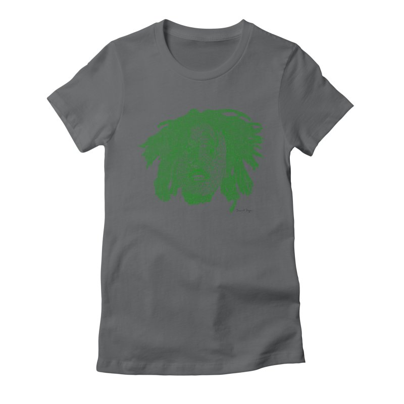 Bob Marley Green Women's Fitted T-Shirt by Daniel Dugan's Artist Shop