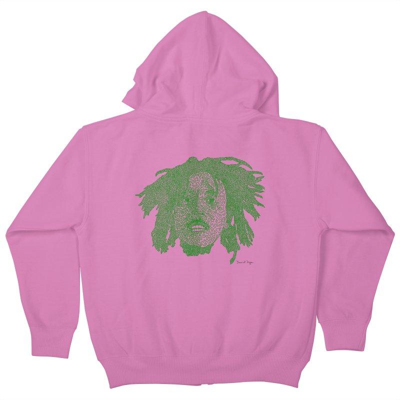 Bob Marley Green Kids Zip-Up Hoody by Daniel Dugan's Artist Shop