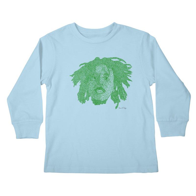 Bob Marley Green Kids Longsleeve T-Shirt by Daniel Dugan's Artist Shop