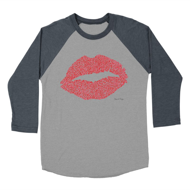 Kisses are the Answer (Red) Women's Baseball Triblend T-Shirt by Daniel Dugan's Artist Shop