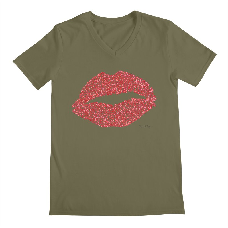 Kisses are the Answer (Red) Men's V-Neck by Daniel Dugan's Artist Shop