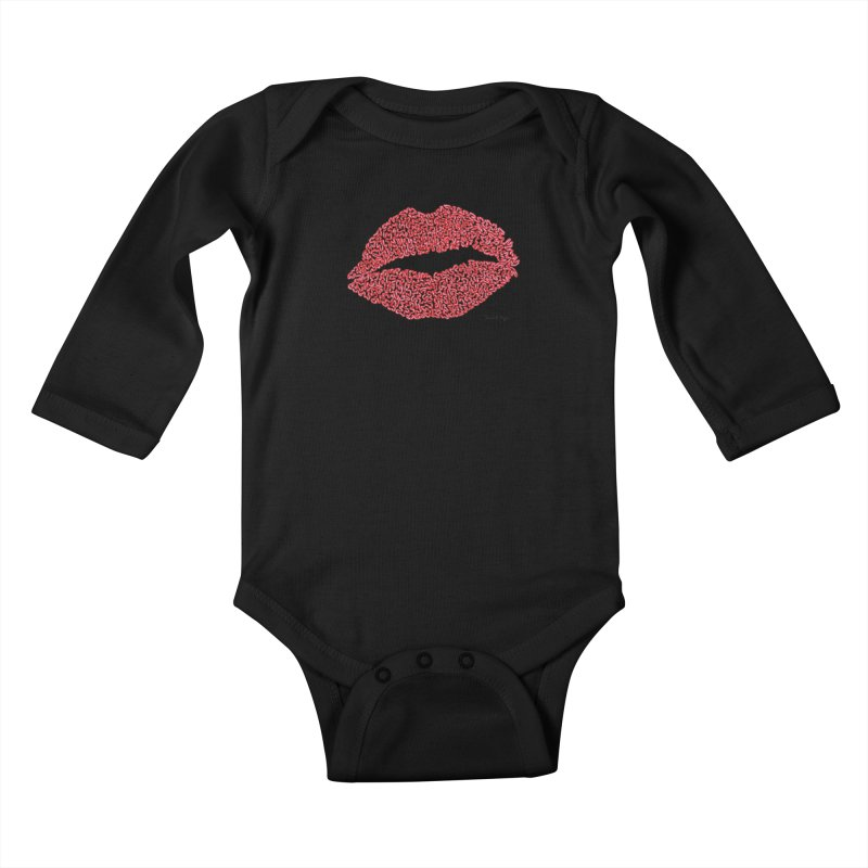 Kisses are the Answer (Red) Kids Baby Longsleeve Bodysuit by Daniel Dugan's Artist Shop